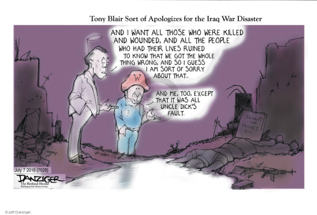 Cartoonist Jeff Danziger  Jeff Danziger's Editorial Cartoons 2016-07-07 George W. Bush