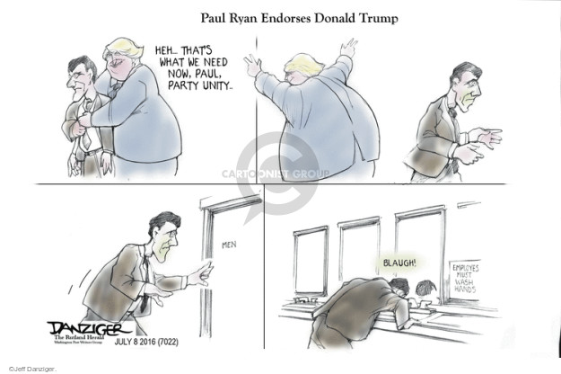 Cartoonist Jeff Danziger  Jeff Danziger's Editorial Cartoons 2016-07-08 endorsement