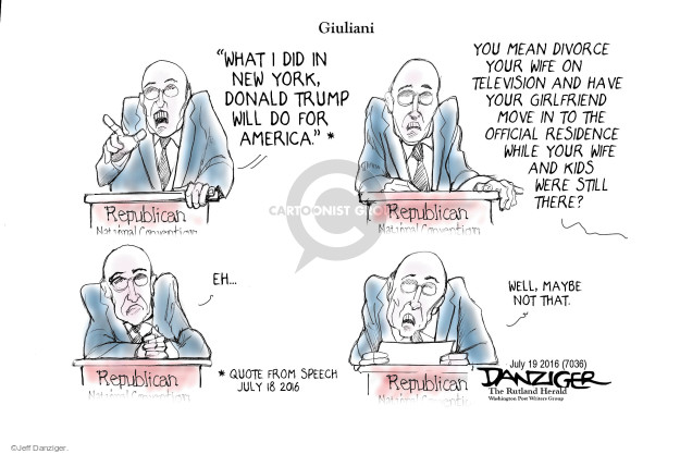 Cartoonist Jeff Danziger  Jeff Danziger's Editorial Cartoons 2016-07-19 republican
