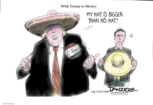 Cartoonist Jeff Danziger  Jeff Danziger's Editorial Cartoons 2016-08-31 campaign hat