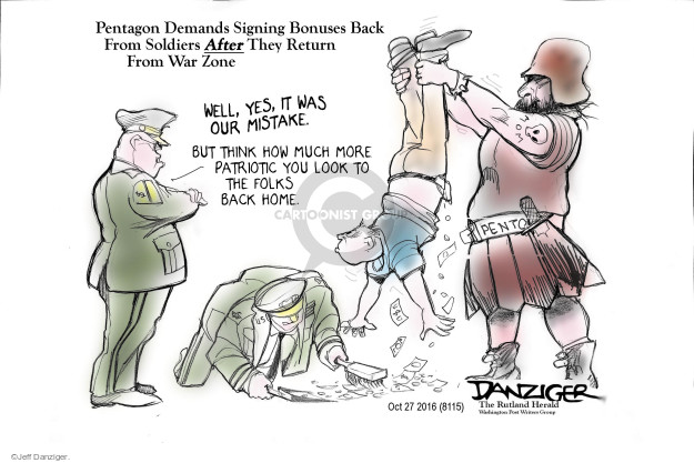 Cartoonist Jeff Danziger  Jeff Danziger's Editorial Cartoons 2016-10-28 patriotism