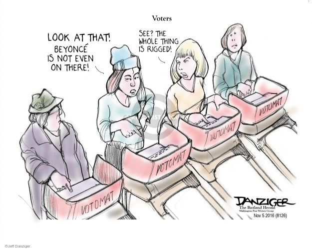 Cartoonist Jeff Danziger  Jeff Danziger's Editorial Cartoons 2016-11-07 endorsement