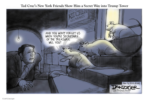 Ted Cruzs New York Friends Show Him a Secret Way into Trump Tower. And you wont forget us when youre Secretary of the Treasury, will you? Trump Kitchen Deliveries.