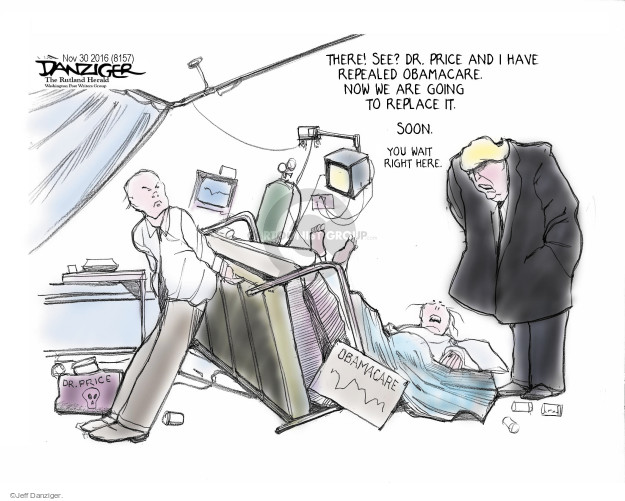 Cartoonist Jeff Danziger  Jeff Danziger's Editorial Cartoons 2016-12-02 affordable care act