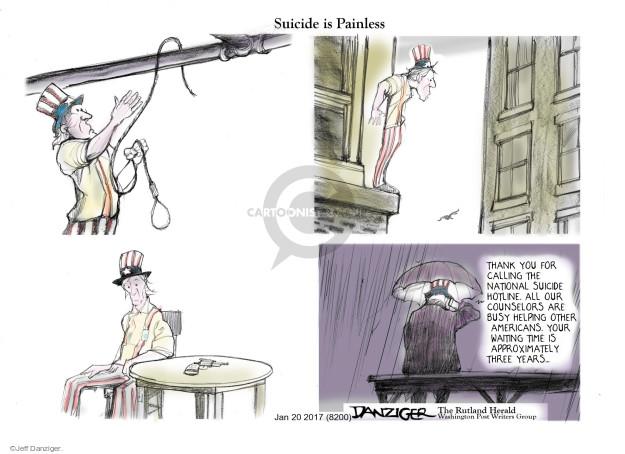 Cartoonist Jeff Danziger  Jeff Danziger's Editorial Cartoons 2017-01-21 suicide