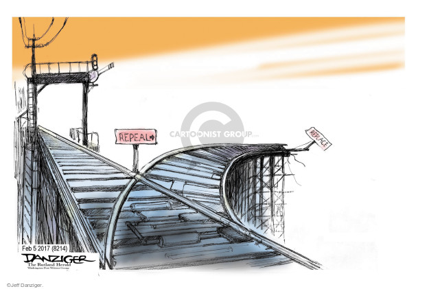 Cartoonist Jeff Danziger  Jeff Danziger's Editorial Cartoons 2017-02-08 Obamacare