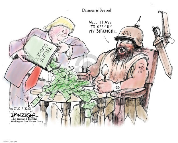 Cartoonist Jeff Danziger  Jeff Danziger's Editorial Cartoons 2017-03-03 budget