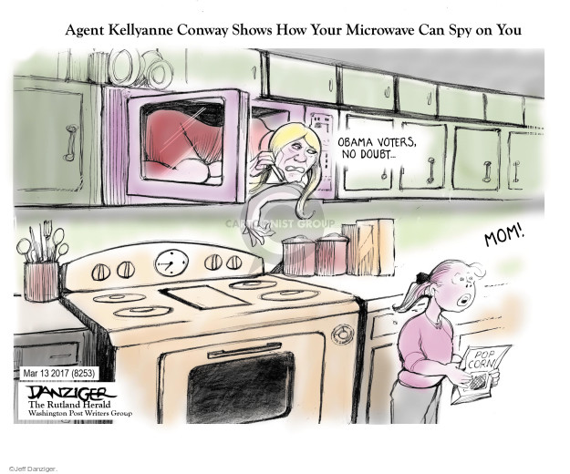 Agent Kellyanne Conway Shows How Your Microwave Can Spy on You. Obama voters, no doubt … Mom! Pop corn.