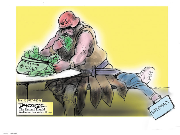 Cartoonist Jeff Danziger  Jeff Danziger's Editorial Cartoons 2017-03-17 budget