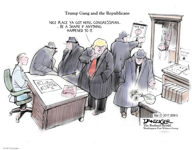 Cartoonist Jeff Danziger  Jeff Danziger's Editorial Cartoons 2017-03-22 insurance policy