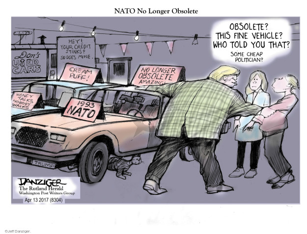 NATO No Longer Obsolete. Obsolete? This fine vehicle? Who told you that? Some cheap politician? Dons Used Cars. Hey! Your credit stinks? So does mine. Cream puff! Money talks, nobody walks. 1993 NATO. No longer obsolete. Amazing.