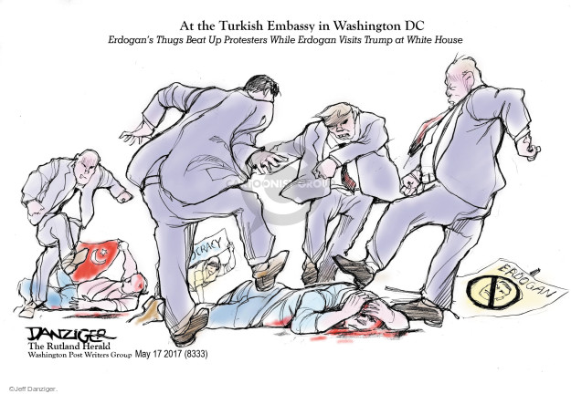 At the Turkish Embassy in Washington DC. Erdogans Thugs Beat Up Protesters While Erdogan Visits Trump at White House. Erdogan.