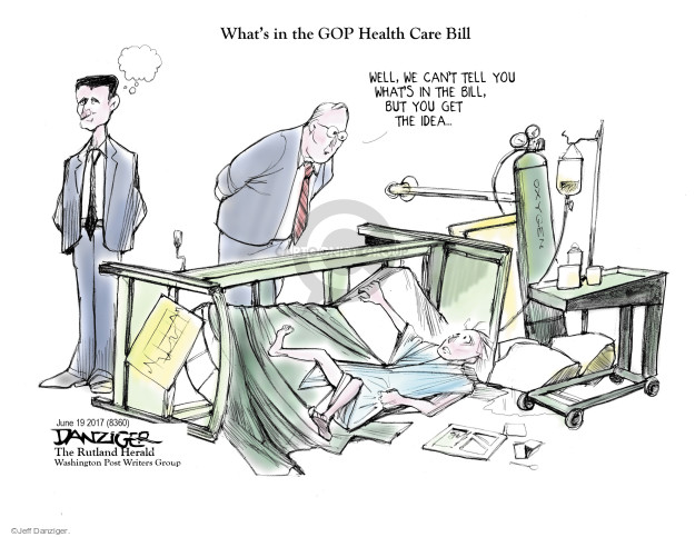 Cartoonist Jeff Danziger  Jeff Danziger's Editorial Cartoons 2017-06-19 insurance