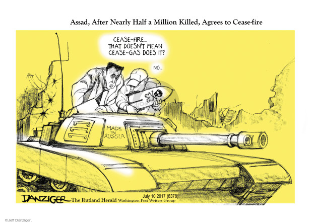 Cartoonist Jeff Danziger  Jeff Danziger's Editorial Cartoons 2017-07-10 al-Assad