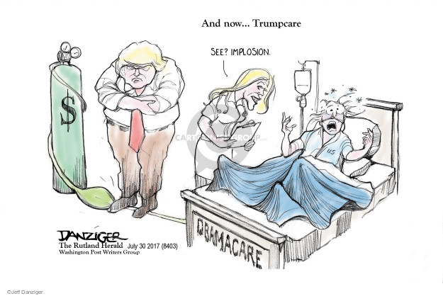 Cartoonist Jeff Danziger  Jeff Danziger's Editorial Cartoons 2017-07-30 Obamacare