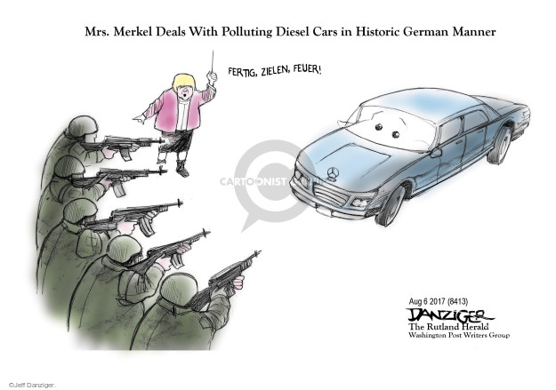 Mrs. Merkel Deals With Polluting Diesel Cars in Historic German Manner. Fertig, zielen, feuer!