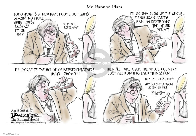 Jeff Danziger  Jeff Danziger's Editorial Cartoons 2017-08-20 Donald Trump Steve Bannon
