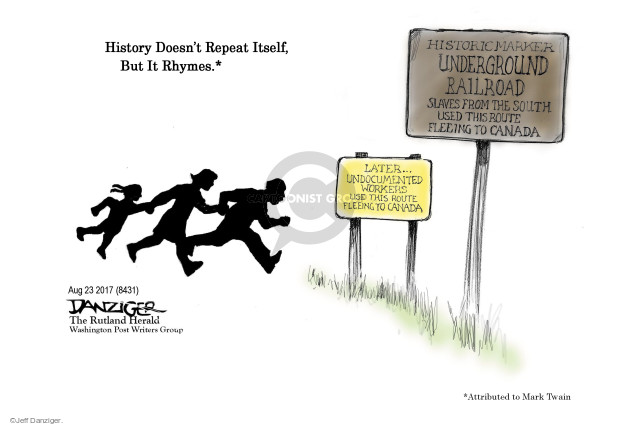 Cartoonist Jeff Danziger  Jeff Danziger's Editorial Cartoons 2017-08-24 migrant