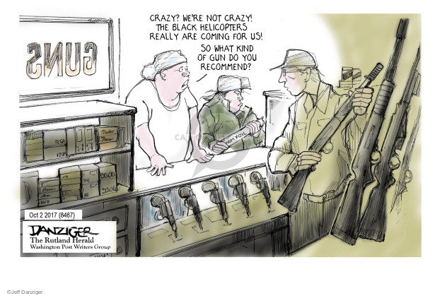 Cartoonist Jeff Danziger  Jeff Danziger's Editorial Cartoons 2017-10-04 gun violence