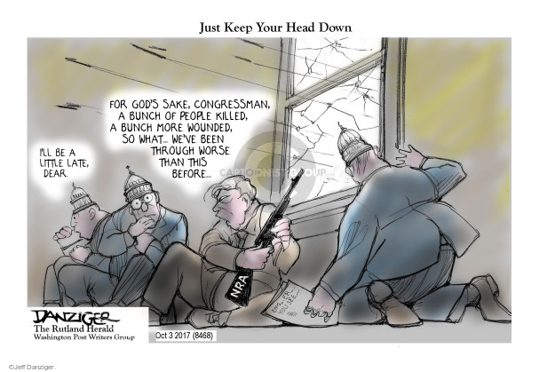 Cartoonist Jeff Danziger  Jeff Danziger's Editorial Cartoons 2017-10-05 shooting
