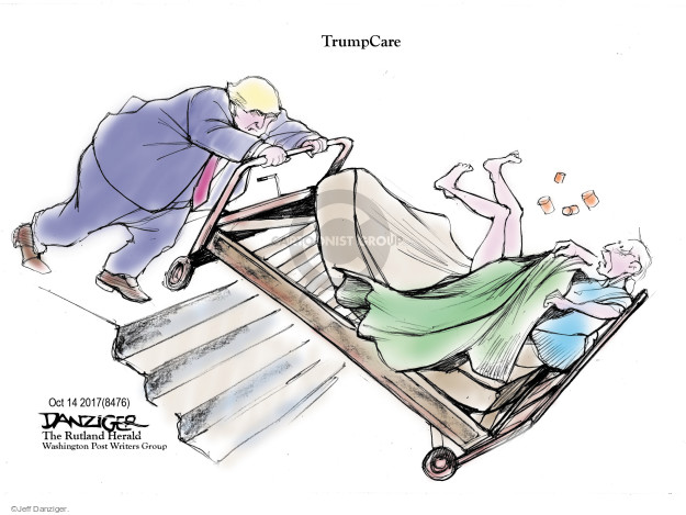Cartoonist Jeff Danziger  Jeff Danziger's Editorial Cartoons 2017-10-15 insurance