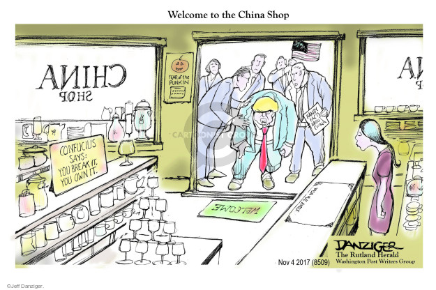 Welcome to the China Shop. China Shop. Confucius says: You break it, you own it. Welcome. Handy facts about China. Visa. M/C. Amex.