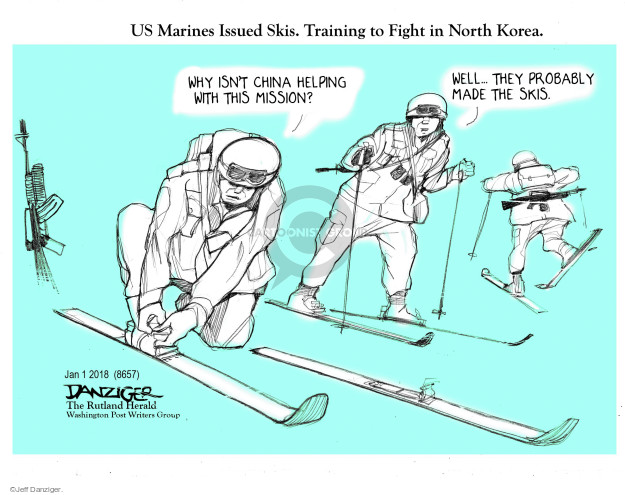 US Marines Issues Skis. Training to Fight in North Korea. Why isnt China helping with this mission? Well … they probably made the skis.