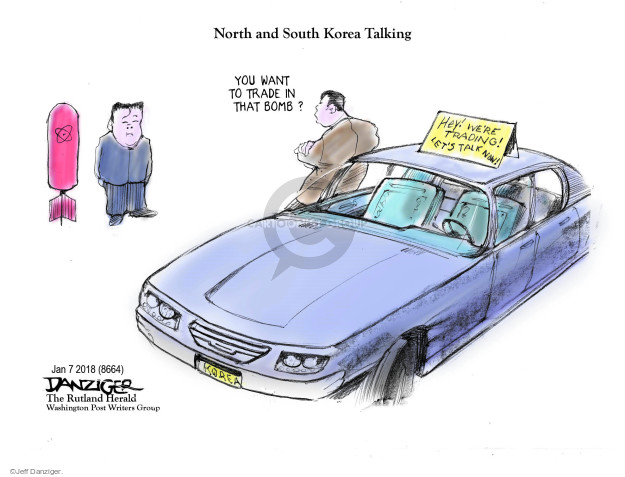Cartoonist Jeff Danziger  Jeff Danziger's Editorial Cartoons 2018-01-08 nuclear weapon