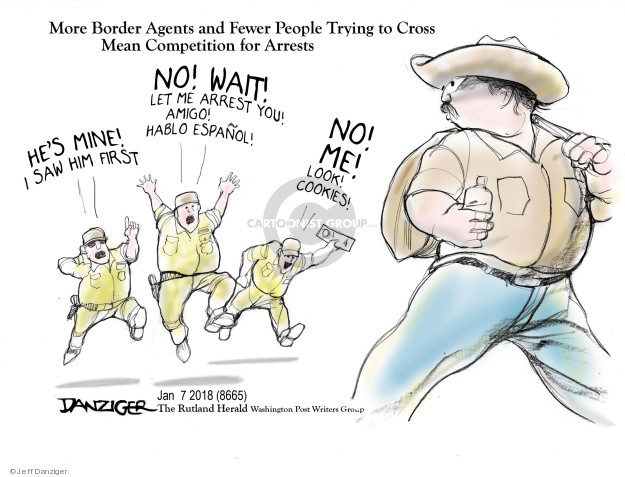 Cartoonist Jeff Danziger  Jeff Danziger's Editorial Cartoons 2018-01-09 migrant