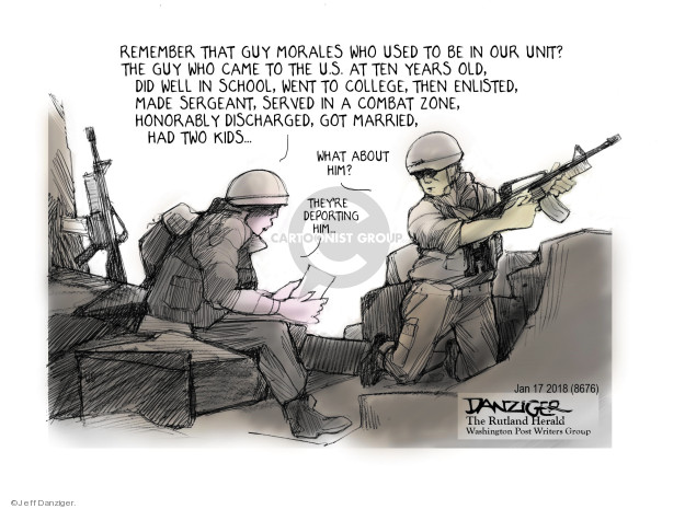 Jeff Danziger  Jeff Danziger's Editorial Cartoons 2018-01-20 immigration