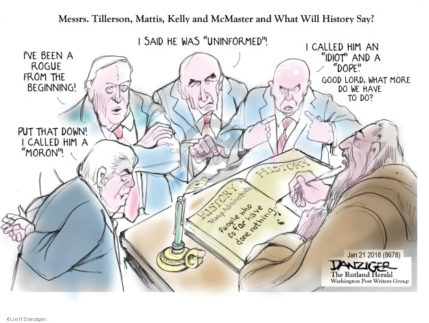 Cartoonist Jeff Danziger  Jeff Danziger's Editorial Cartoons 2018-01-22 secretary