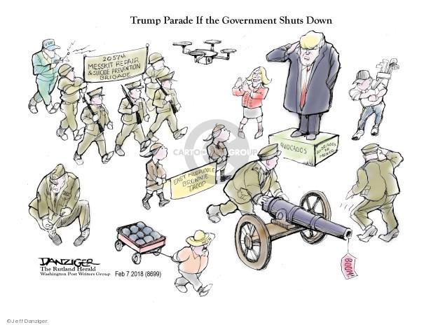 Cartoonist Jeff Danziger  Jeff Danziger's Editorial Cartoons 2018-02-09 defense