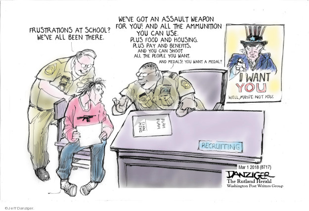 Cartoonist Jeff Danziger  Jeff Danziger's Editorial Cartoons 2018-03-02 shooting