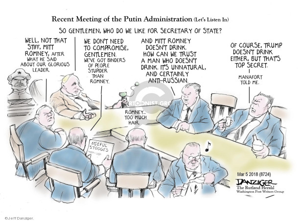 Cartoonist Jeff Danziger  Jeff Danziger's Editorial Cartoons 2018-03-07 secretary