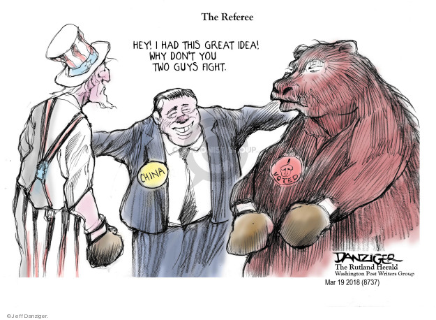 Cartoonist Jeff Danziger  Jeff Danziger's Editorial Cartoons 2018-03-20 fight