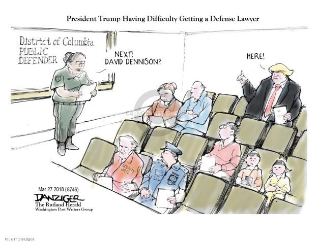 Cartoonist Jeff Danziger  Jeff Danziger's Editorial Cartoons 2018-03-29 legal defense