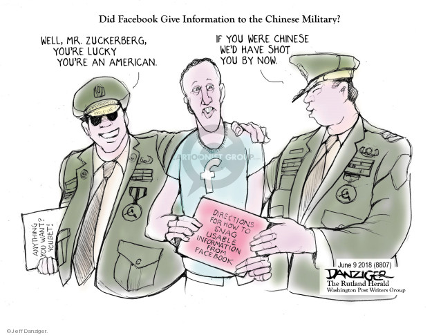 Cartoonist Jeff Danziger  Jeff Danziger's Editorial Cartoons 2018-06-09 United States Military