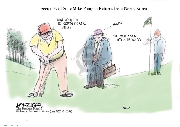 Secretary of State Mike Pompeo Returns from North Korea. How did it go in North Korea, Mike? Oh … you know … its a process. Kimchi. State Department.