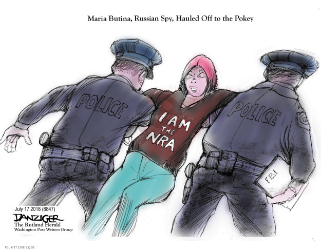 Maria Butina, Russian Spy, Hauled off to the Pokey. I am the NRA. Police. F.B.I.