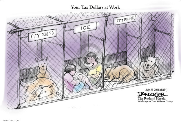Cartoonist Jeff Danziger  Jeff Danziger's Editorial Cartoons 2018-07-26 migrant