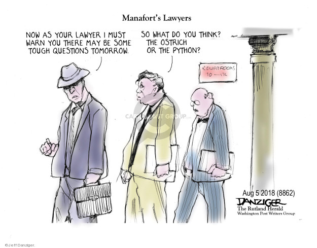 Cartoonist Jeff Danziger  Jeff Danziger's Editorial Cartoons 2018-08-06 collusion investigation