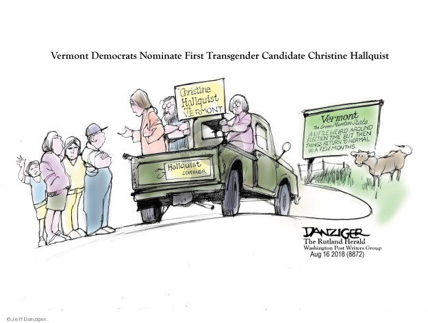 Cartoonist Jeff Danziger  Jeff Danziger's Editorial Cartoons 2018-08-18 state election