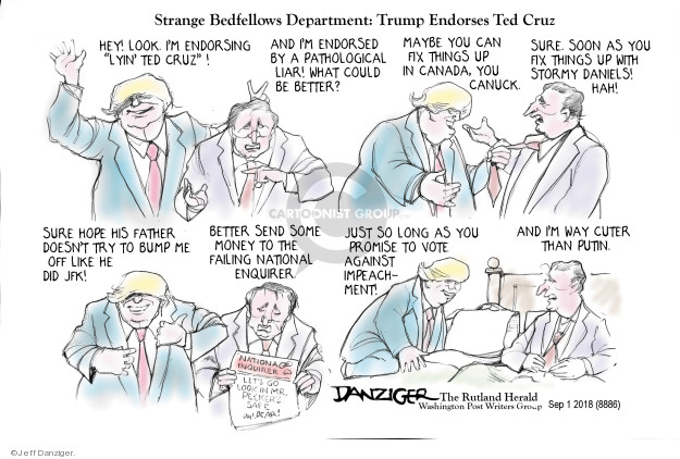 Cartoonist Jeff Danziger  Jeff Danziger's Editorial Cartoons 2018-09-02 endorsement