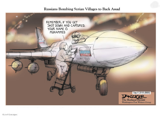 Cartoonist Jeff Danziger  Jeff Danziger's Editorial Cartoons 2018-09-06 conflict