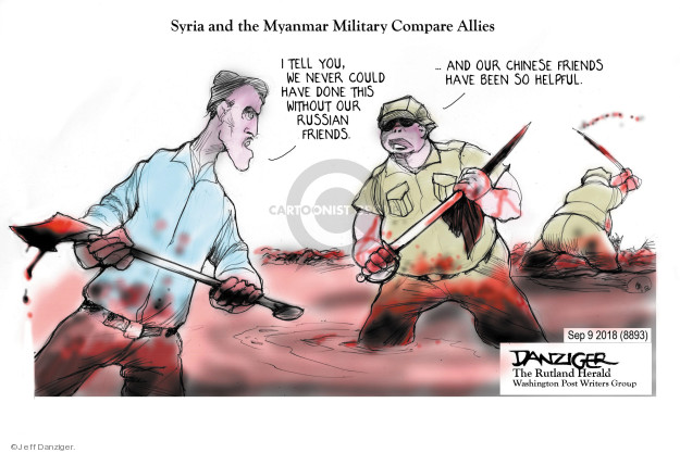 Cartoonist Jeff Danziger  Jeff Danziger's Editorial Cartoons 2018-09-10 conflict
