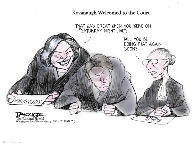 Cartoonist Jeff Danziger  Jeff Danziger's Editorial Cartoons 2018-10-09 Brett Kavanaugh