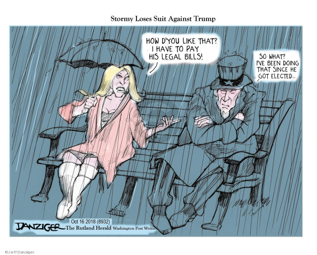 Jeff Danziger  Jeff Danziger's Editorial Cartoons 2018-10-18 Stormy Daniels