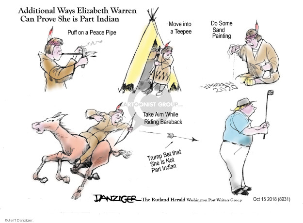 Cartoonist Jeff Danziger  Jeff Danziger's Editorial Cartoons 2018-10-20 Native American