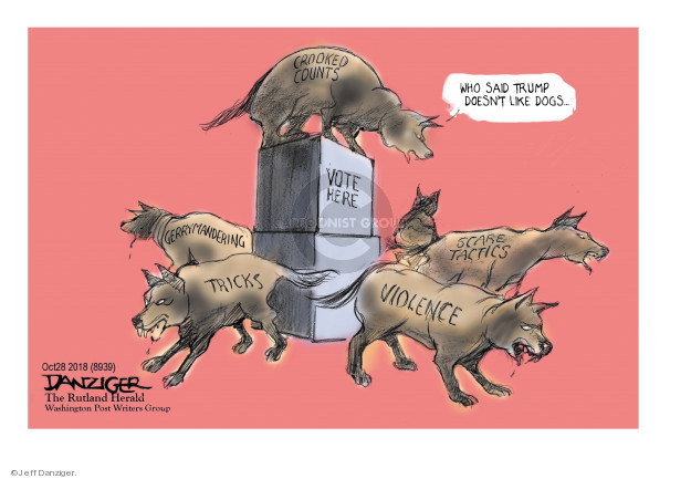 Cartoonist Jeff Danziger  Jeff Danziger's Editorial Cartoons 2018-10-29 voter suppression