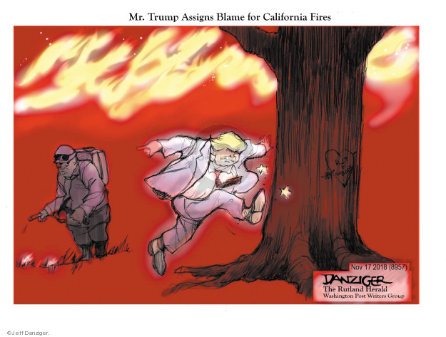 Cartoonist Jeff Danziger  Jeff Danziger's Editorial Cartoons 2018-11-18 forest fire